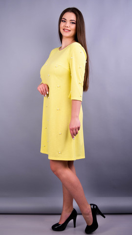 Жемчуг. Стильна сукня плюс сайз для жінок. Жовтий.