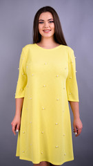 Жемчуг. Стильное платье плюс сайз для женщин. Желтый.