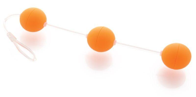 Анальные шарики, цепочки: Анальная цепочка из 3 оранжевых шариков