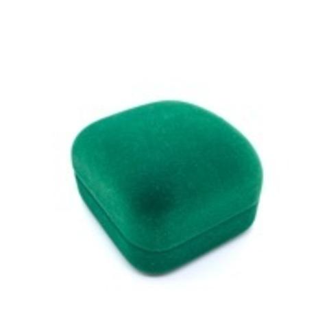 Бархатная, подарочная коробка под подвеску/пусеты зеленая