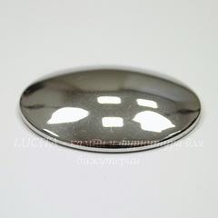Кабошон овальный Гематит немагнитный серебряный, 40х30 мм
