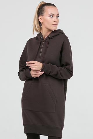 Платье-худи коричневое
