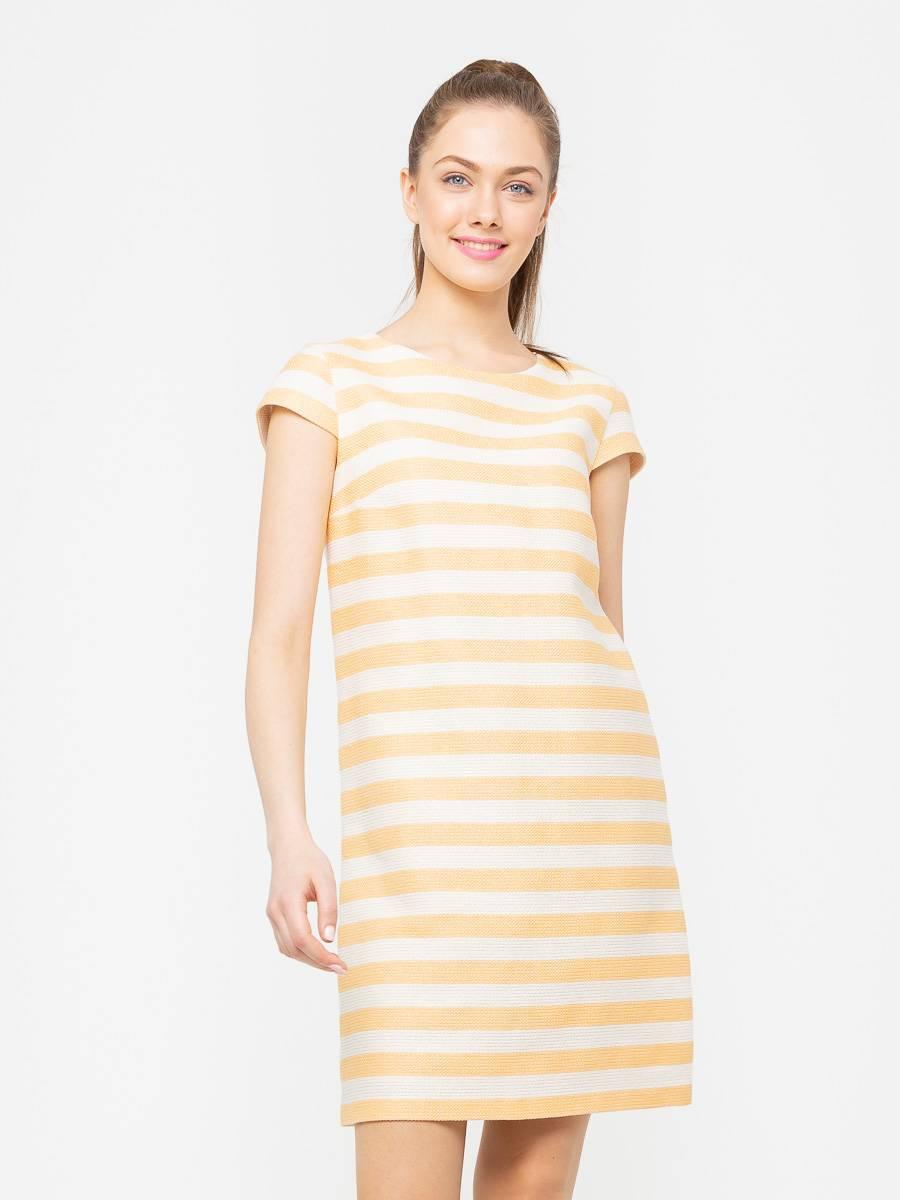 Платье З172-581 - Платье А-силуэта с небольшим рукавчиком из фактурной ткани. Горизонтальная, модная в этом сезоне, полоска смотрится стильно и необычно. Платье хорошо сидит на фигуре любого размера, скрывая возможные недостатки фигуры.