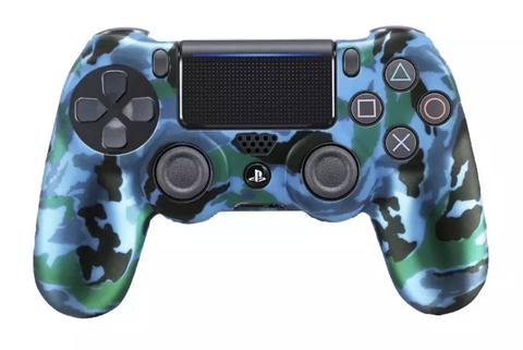 PS4 Чехол для геймпада DualShock 4 (зелёный перламутр камуфляж, накладки + наклейка)