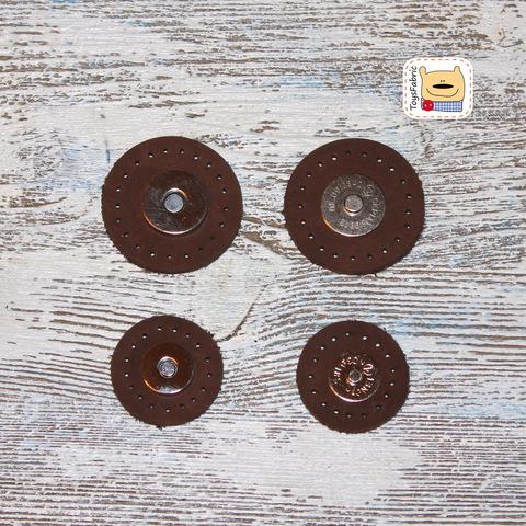 Кнопка магнитная кожаная пришивная усиленная 40мм LK40-B (темно коричневая)
