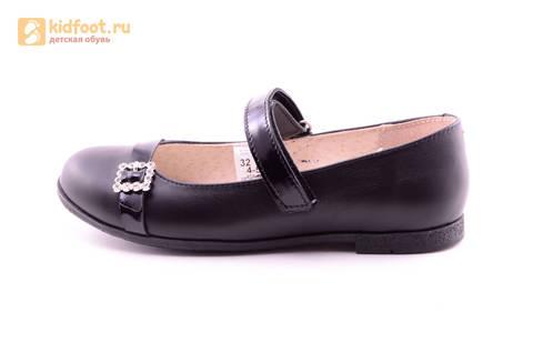 Туфли для девочек из натуральной кожи на липучке Лель (LEL), цвет черный. Изображение 3 из 20.