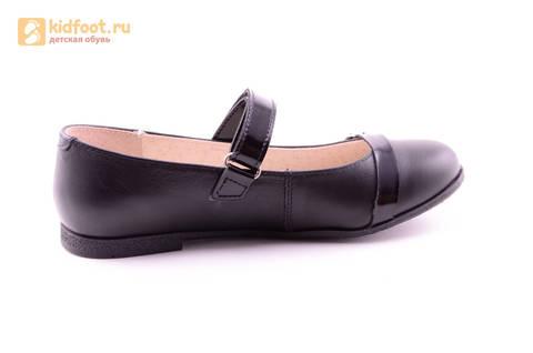 Туфли для девочек из натуральной кожи на липучке Лель (LEL), цвет черный. Изображение 4 из 20.