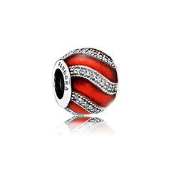 Adornment, Translucent Red Enamel & Clear CZ