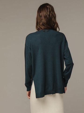 Женский темно-зеленый шерстяной джемпер - фото 3