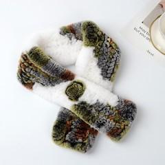Вязаный меховой шарф-воротник (кролик) цветной 01