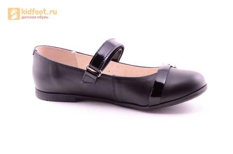 Туфли для девочек из натуральной кожи на липучке Лель (LEL), цвет черный. Изображение 2 из 20.
