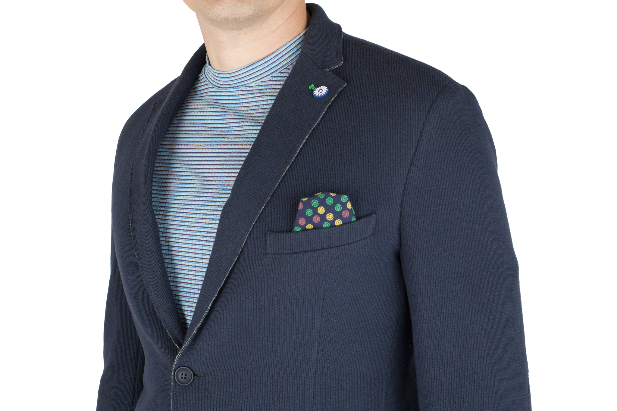 Тёмно-синий трикотажный пиджак из смеси хлопка и вискозы, нагрудный карман