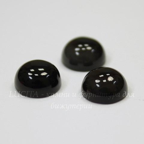 Кабошон круглый Агат Черный, 8 мм