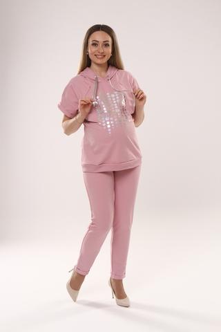 Спортивный костюм для беременных и кормящих 10621 пудра