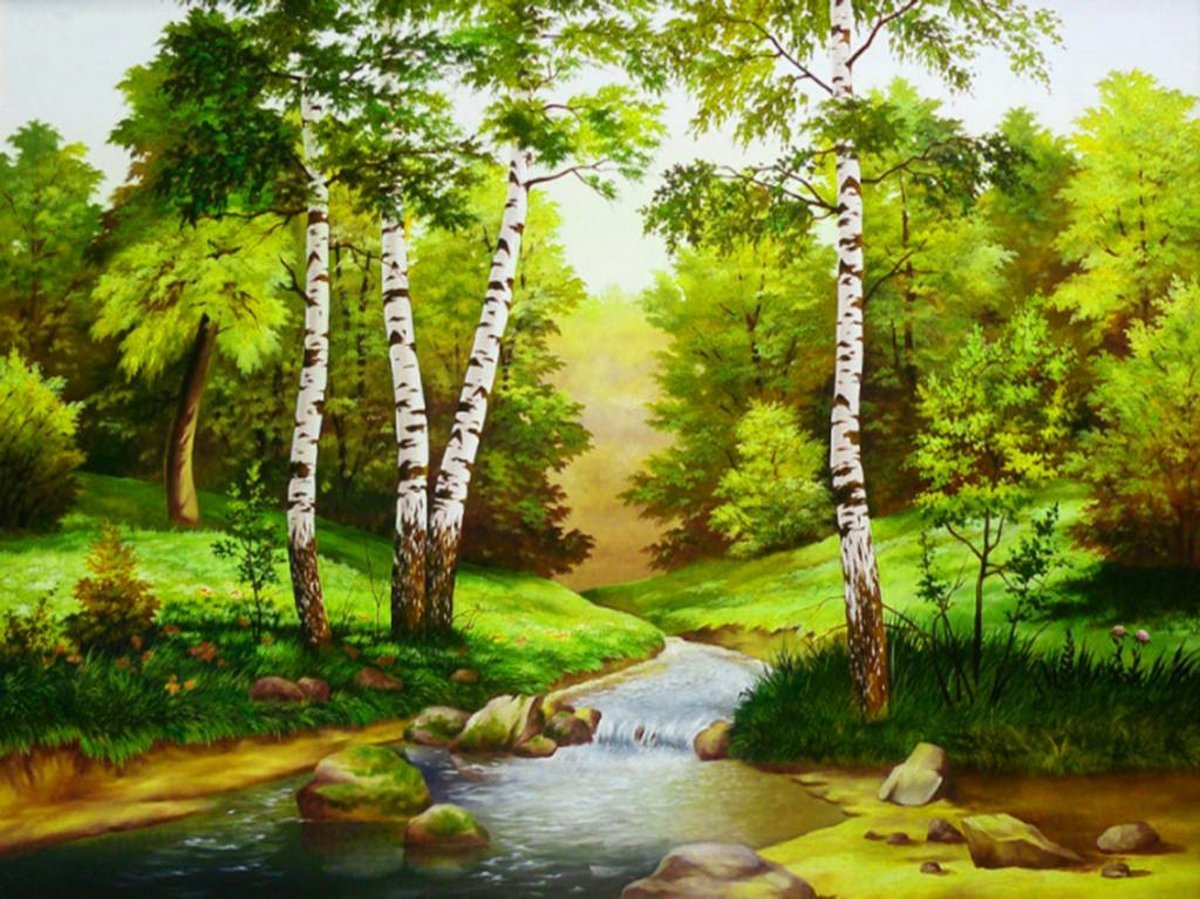 Картина раскраска по номерам 40x50 Речка в лесу– купить в ...