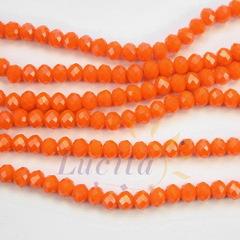 Бусина стеклянная, рондель с огранкой, цвет - ярко-оранжевый, 4х3 мм, нить
