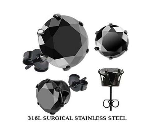 SERDK-5K Мужские серьги - гвоздики с черным камнем (5 мм), сталь,