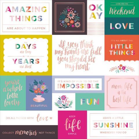 Лист с журнальными карточками  с золотым тиснением 30х30 см - коллекция Oh My Heart- Pink Paislee
