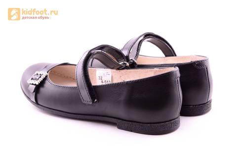 Туфли для девочек из натуральной кожи на липучке Лель (LEL), цвет черный. Изображение 7 из 20.