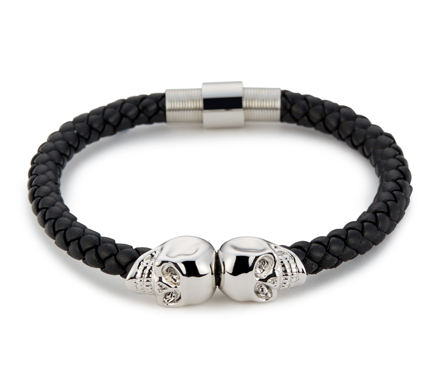 Premium браслеты Браслет Northskull Black Nappa Leather Silver Twin Skull bracelet из натуральной кожи 51422e56d403638ae1fbac78e66e0551.jpg