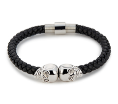 Браслет Northskull Black Nappa Leather Silver Twin Skull bracelet из натуральной кожи