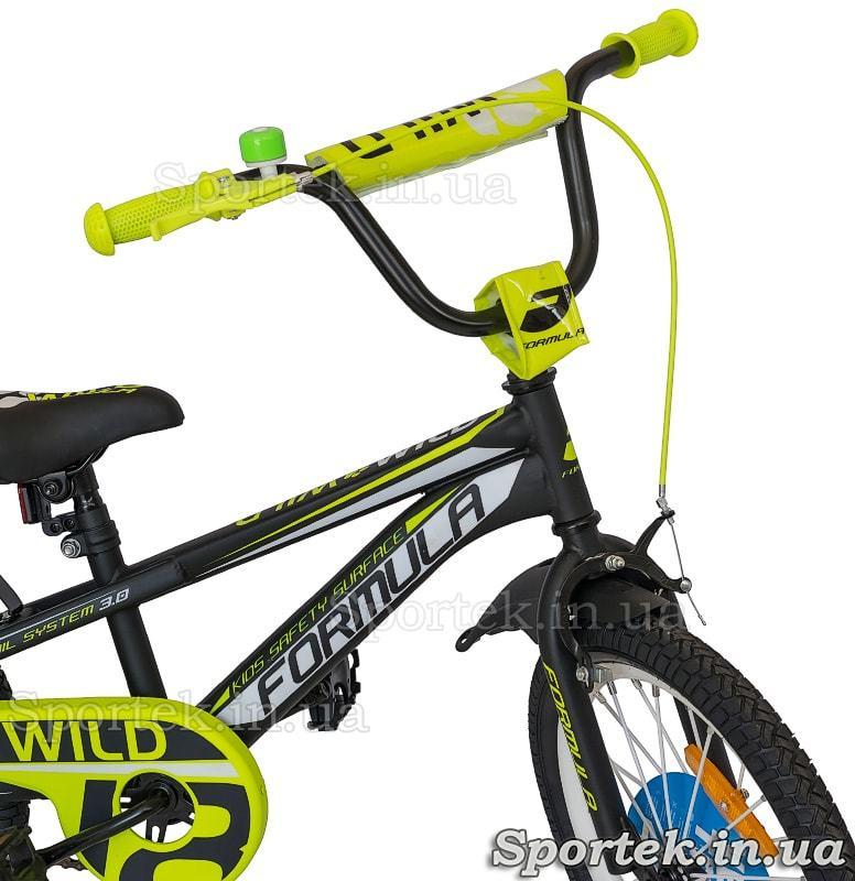 Руль, переднее колесо и тормоз детского велосипеда Formula Wild