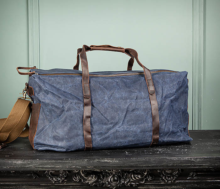BAG499-3 Большая сумка из ткани синего цвета с ремнем на плечо