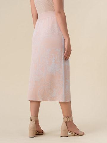 Женская юбка-карандаш с принтом светло-розового цвета из вискозы - фото 4