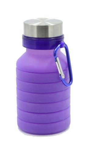 Бутылка для воды силиконовая складная с карабином 550 мл фиолетовая