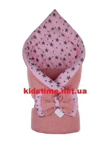 Конверт для новорожденных на выписку Звездное небо розовый