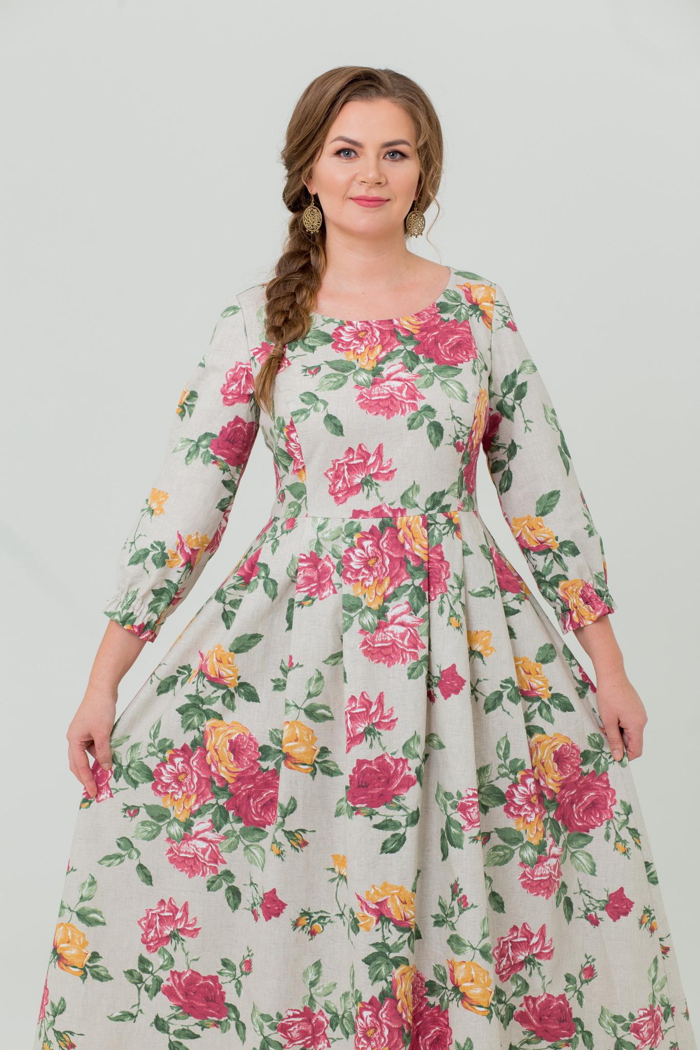 Платье льняное Мелодия любви в пол цветочный принт
