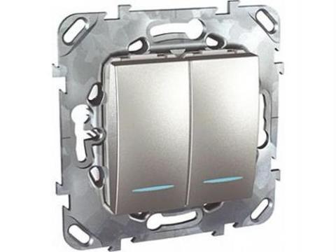 Выключатель двухклавишный с подсветкой проходной - Переключатель с подсветкой двухклавишный. Цвет Алюминий. Schneider electric Unica Top. MGU5.0303.30NZD
