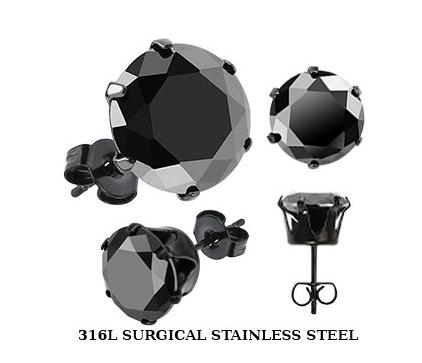 SERDK-6K Мужские стальные серьги гвоздики с камнем черного цвета (5 мм)