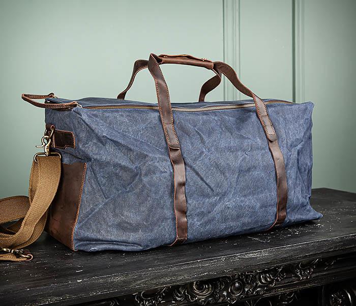 BAG499-3 Большая сумка из ткани синего цвета с ремнем на плечо фото 03