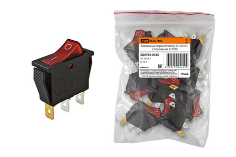 Клавишный переключатель YL-202-03 черный корпус красная клавиша 2 положения 1з TDM
