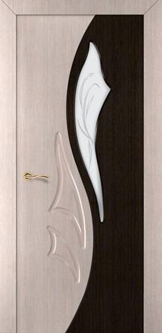 Дверь Румакс Элегия-дуэт 2 ДО, стекло матовое, цвет беленый дуб/дуб мореный, остекленная