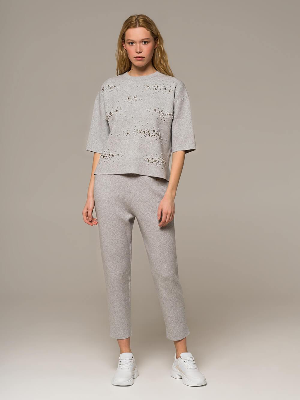 Женские серые брюки из вискозы