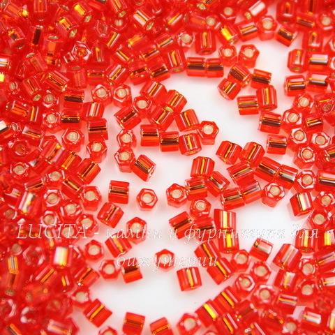 0025 Бисер японский TOHO Hexagon (шестиугольный) 11/0, светло-красный рубин с внутренним серебрением