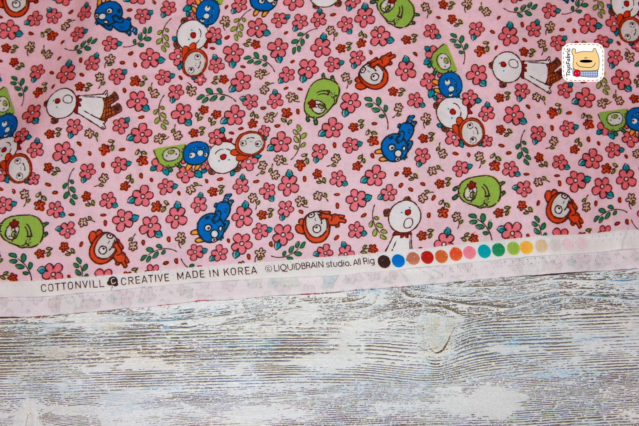 Ткань для пэчворка 20380 (монстрики в цветах на розовом)