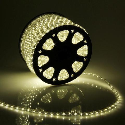 Дюралайт светодиодный, чейзинг, 13мм - 3 жилы - 36 led/m, Тёплый белый - 50м