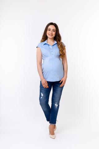 Блузка для беременных 01314 голубой