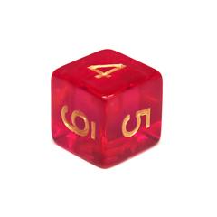 Куб D6 прозрачный: Малиновый 16мм с цифрами
