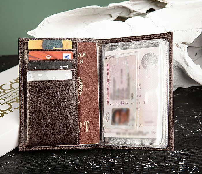 BC217-2 Кожаная обложка коричневого цвета для авто документов, «Atos» фото 05