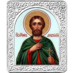 Святой Анатолий. Маленькая икона в серебряной раме.