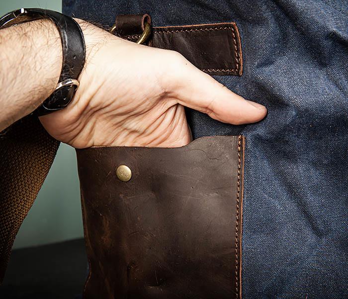 BAG499-3 Большая сумка из ткани синего цвета с ремнем на плечо фото 06