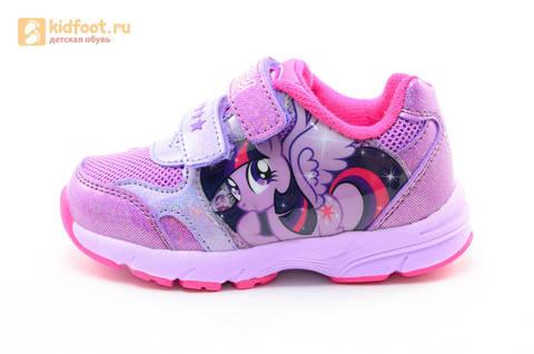 Светящиеся кроссовки для девочек Пони (My Little Pony) на липучках, цвет сиреневый, мигает картинка сбоку,  5873B. Изображение 3 из 15.
