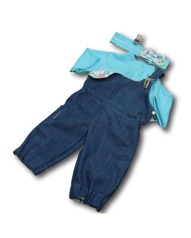 Полукомбинезон из джинсовой ткани - Бирюзовый. Одежда для кукол, пупсов и мягких игрушек.