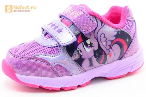 Светящиеся кроссовки для девочек Пони (My Little Pony) на липучках, цвет сиреневый, мигает картинка сбоку,  5873B. Изображение 1 из 15.