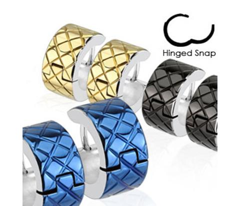 Широкие серьги «Spikes» из стали (цвет синий)