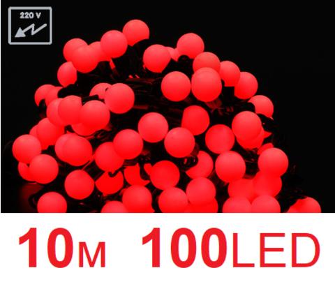Гирлянда шарики 10 м 100 led красный цвет